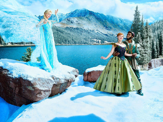 Caissie Levy as Elsa, Patti Murin as Anna, Jelani Alladin as Kristoff: Original Broadway Company, Photo by Andrew Eccles.