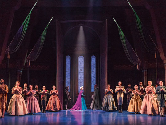 Caissie Levy (Elsa) and the Company of FROZEN on Broadway. Photo by Deen van Meer.