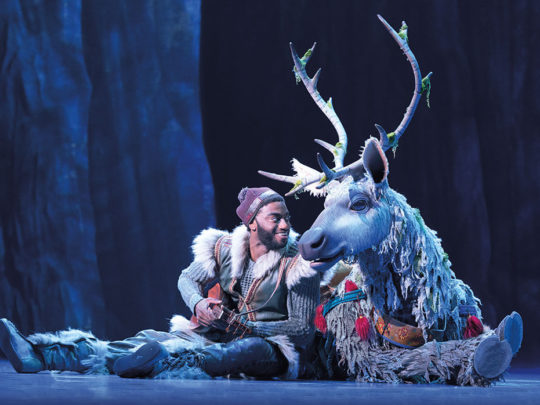 Jelani Alladin (Kristoff) and Andrew Pirozzi (Sven) in FROZEN on Broadway. Photo by Deen van Meer.