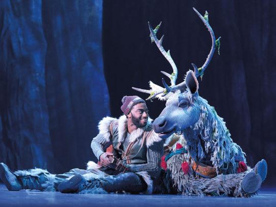 Jelani Alladin (Kristoff) and Andrew Pirozzi (Sven) in FROZEN on Broadway. Photo by Deen van Meer.