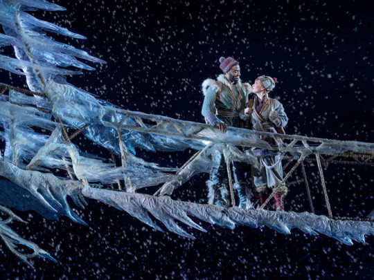 Jelani Alladin (Kristoff) and Patti Murin (Anna) in FROZEN on Broadway. Photo by Deen van Meer.