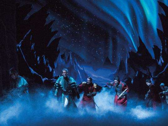 John Riddle (Hans), Robert Creighton (Weselton) and the Company of FROZEN on Broadway. Photo by Deen van Meer.