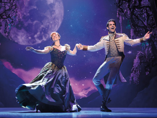 Patti Murin (Anna) and John Riddle (Hans) in FROZEN on Broadway. Photo by Deen van Meer.