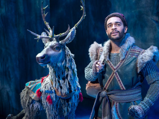 Adam Jepsen (Sven) and Noah J. Ricketts (Kristoff) in Frozen Broadway. Photo by Deen van Meer.