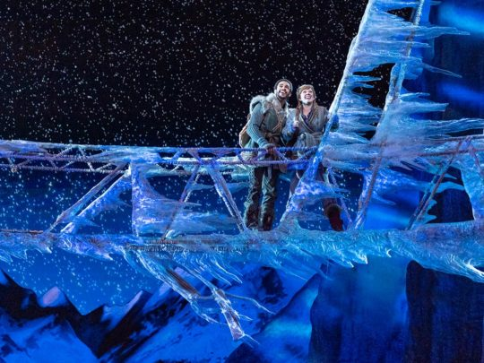 Noah J. Ricketts (Kristoff) and Patti Murin (Anna) in Frozen Broadway. Photo by Deen van Meer.
