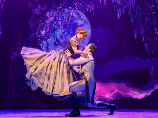 Patti Murin (Anna) and Joe Carroll (Hans) in Frozen Broadway. Photo by Deen van Meer.