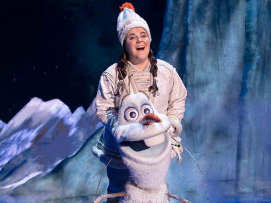 Ryann Redmond as OLAF in Frozen Broadway. Photo by Deen van Meer.