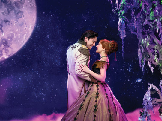 Ryan McCartan (Hans) and McKenzie Kurtz (Anna) in FROZEN on Broadway. Photo by Mary Ellen Matthews.