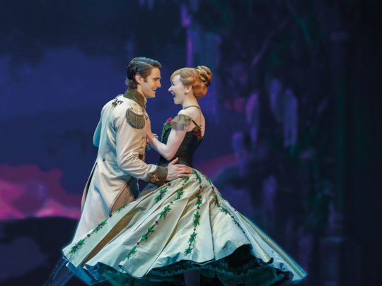 Austin Colby as Hans and Caroline Innerbichler as Anna in FROZEN North American Tour. Photo by Deen van Meer.