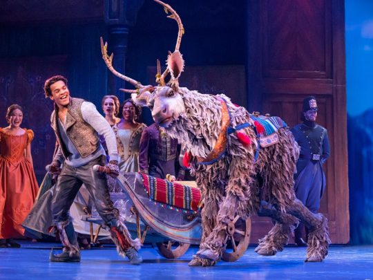 Mason Reeves as Kristoff and Collin Baja as Sven in FROZEN North American Tour. Photo by Deen van Meer.