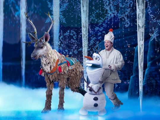 Collin Baja as Sven and F. Michael Haynie as Olaf in FROZEN North American Tour. Photo by Deen van Meer.