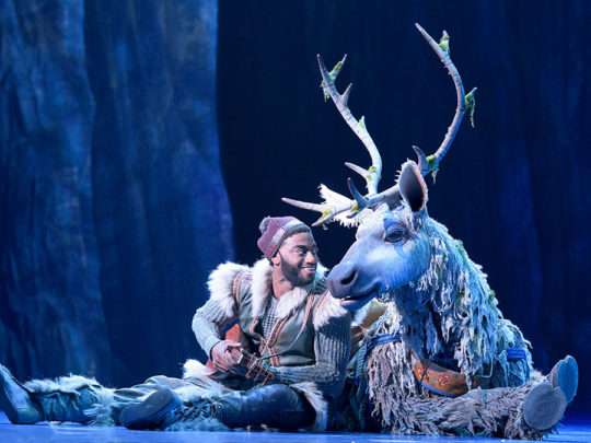 Jelani Alladin as Kristoff, Andrew Pirozzi as Sven: Original Broadway Company, Photo by Deen van Meer.
