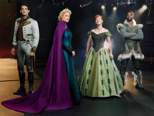 John Riddle as Hans, Caissie Levy as Elsa, Patti Murin as Anna, Jelani Alladin as Kristoff: Original Broadway Company, Photo by Andrew Eccles.